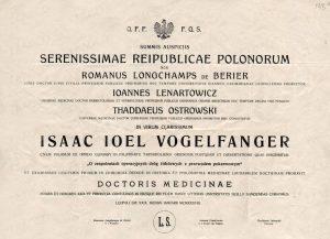 Диплом на латинском языке о присвоении степени Доктора медицинских наук Фогельфангеру И. Польша, 1938 год. (ГААОСО. Ф. Р-1. Оп.2. Д.57829. Л.130)