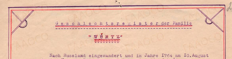 Генеалогическое древо семьи Вирц (Вюртц) (Würtz)
