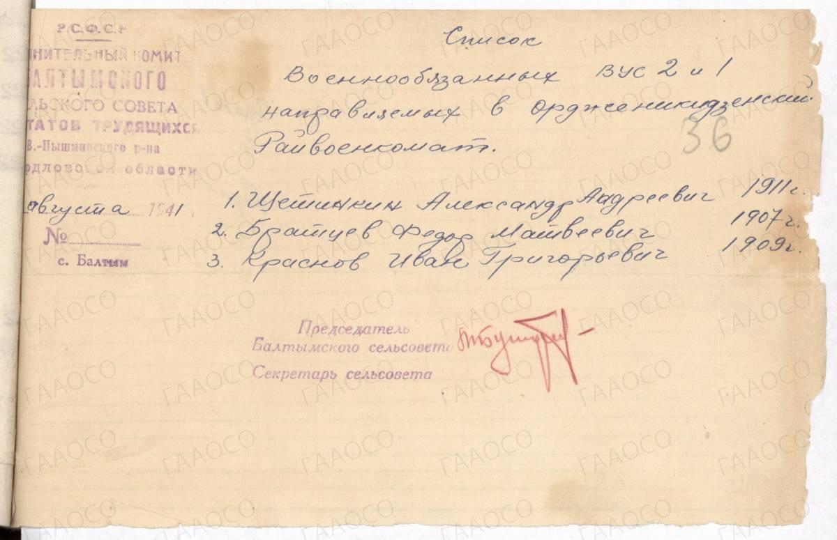Список военнообязанных